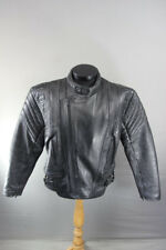 AKITO MERCURY PLUS BLACK LEATHER BIKER JACKET + REMOVABLE BACK PROTECTOR 42 INCH