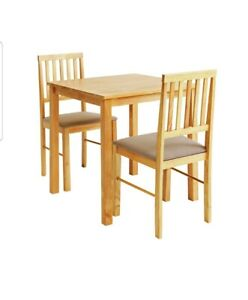 Kendal Solid Wood Dining Table & 2 Natural Chairs