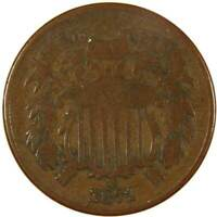 1871 Two Cent Piece VG Very Good Bronze 2c US Type Coin Collectible