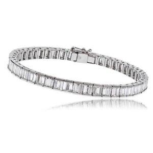 5.28 Ct  Carat  Baguette   Cut  Diamond Tennis Bracelet ,  18k white gold