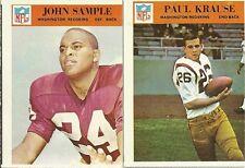 1966 Philadelphia FB Cards Redskins Lot #191 Sample & #186 Krause EX
