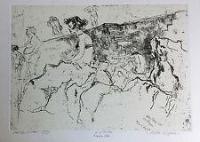 """Walter Piacesi  acquaforte1985 """"molo e figure""""  prova d'autore - cm. 48 x  33"""