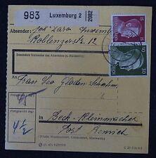 parcel card Karte Germany Deutsches Reich Luxemburg Zustellgebühr 1943