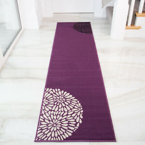 Contemporary Purple Floral Hall Runner Soft Cosy Long Narrow Hallway Runner Rug