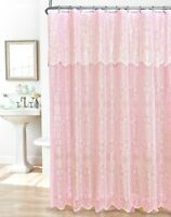 Lovely White Pink Floral Lace Scalloped Valance Shower Curtain w/ Rings