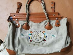 Authentic Gucci Canvas Shoulder Bag Vintage Nautical Marine Sailing Theme 1980s