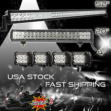 """52Inch LED Light Bar Combo + 20in +4"""" CREE PODS OFFROAD SUV 4WD ATV FORD JEEP 50"""