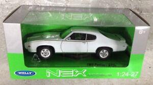 G LGB 1:24 1969 Pontiac Gto Bianco WELLY Pressofuso Dettagliato Vettura Bnib