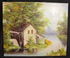 Realism Landscape Oil Painting of River trees and Cottage by M. Shera