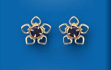 Sapphire Earrings Heart Studs Yelow Gold Stud Earrings