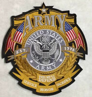 """US ARMY X-LARGE  CUSTOM BIKER / MILITARY  """"ARMY""""  Back Patch 10 x 11 inches"""
