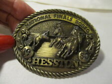 HESSTON National Finals Rodeo Ltd 6th Edition Collector's Brass Belt Buckle 1980