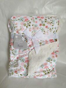 Baby Girls Blanket Pink Flower Mink Sherpa