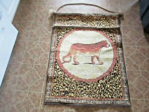 """vintage Leopard - Cheetah Wall Tapestry 35""""x25"""" that in good shape - NR"""