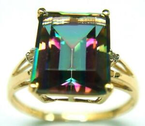 SYJEWELLERY FINE 9CT YELLOW GOLD NATURAL MYSTIC TOPAZ & DIAMOND RING SIZE N R917