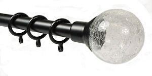 Sunflex Black Cracked Glass 19mm 200cm - 360cm Extendable Metal Curtain Pole New