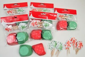 180 PCS CUPCAKE CASES & TOPPERS CHRISTMAS PRINTED