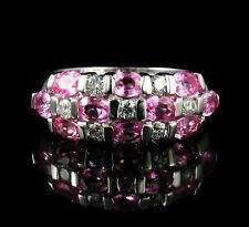 RJM SIGNED NATURAL 2.50ctw PINK SAPPHIRE & DIAMOND 14K WHITE GOLD WIDE BAND RING