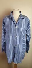 BEST BASICS Ladies Size M Blue/White Striped Long Sleeve Pyjama Shirt Top F1
