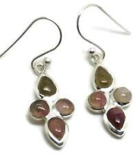 Natural Multicolour Tourmaline Drop Earrings, Solid Sterling Silver, Actual Ones