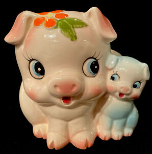 Vintage Inarco Pigs Mom W/ Baby Porcelain Planter