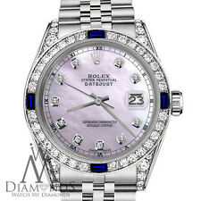 Rolex 36mm Datejust Pink MOP Dial with Sapphire & Diamond Bezel Accent