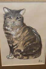 GRAY CAT ORIGINAL WATERCOLOR ON SILK PAINTING