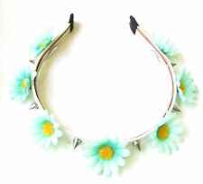 Mint Green White Silver Spike Stud Flower Headband Sugar Skull Pastel Goth 1268