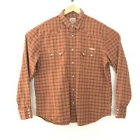 Lucky Brand Western Wear XXL 2XL Snap Front Long Sleeve Collared Plaid Shirt Red