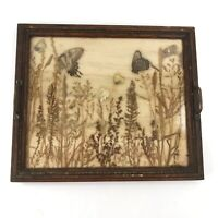Vintage Wood Serving Tray Pressed Butterflies Plants Glass Top Brass Handles