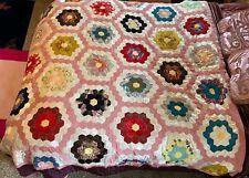 """Vintage Patchwork Satin Velvet Granny Handmade Quilt Blanket 76"""" hexagon Flower"""