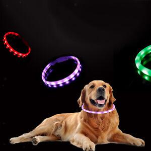 USB Rechargeable LED Collar Light up Dog Collars Night Flashing Adjustable