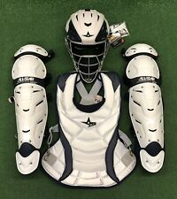 All Star Vela Adult Fastpitch Softball Catchers Gear Set - White Navy Blue