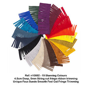 Faux Suede Leather Tassel Fringe Trimming, 19 Colour, Boho Chic Crafts, Neotrims