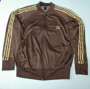 Adidas Track Jacket Men's XL Classic Style Brown Brand W/ 3 Stripes
