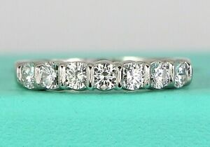 $7,500 Tiffany & Co Platinum Round Diamond 3.5mm Bar Set Wedding Band Ring Sz 8