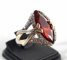 Handmade Turkish Jewelry 925 Sterling Silver Ruby Cocktail Ring Size 9