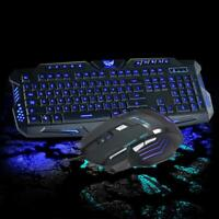 3 Colors LED Backlit USB Wired Gaming Keyboard Multimedia and 2400 DPI Mouse Set
