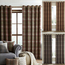 Polyester Checked Modern Curtains & Pelmets
