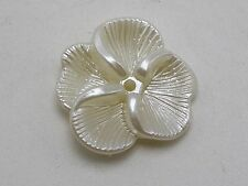 50 Ivory Acrylic Pearl Flower Sew On Beads 22mm Center Hole Sewing Craft