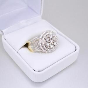 3.50ct Real Moissanite Pinky Band Men's Engagement Ring 14K Yellow Gold Over