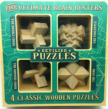 The Ultimate Brain Busters Devilish 4 in 1 Classic Wooden Puzzles Brain Teasers