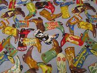 Cowboy Boots Bright Multi Color Western CP23466 Denim Blue Quilt Cotton Fabric b