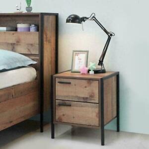 Industrial Oak Effect Stretton Urban Bedside Lamp Table 2 Drawer ‖ BTAD