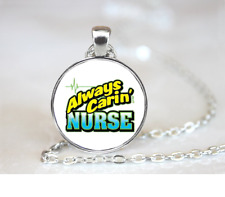 Always Caring Nurse Pkt PENDANT NECKLACE / Chain Glass Tibet Silver Jewellery