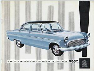 Ford Consul Mk2 1959-60 UK Market Sales Brochure Saloon De Luxe Convertible