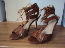 Ladies Faux Suede Shoes Slim High Heels Lace Up Hollow Out Sandals US Size s024