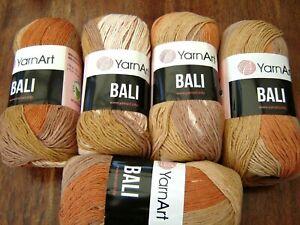 Job lot YarnArt Bali Cotton Knitting Crochet Yarn Wool sand/rust multi  5 x 100g