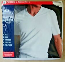 Stafford PREMIUM V-Neck T Shirts 3-pack White 100% Cotton heavyweight XXL NEW