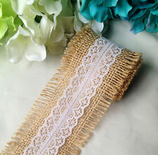 1 Meter Natural Hessian Burlap Lace Ribbon Vintage Rusitc Country Wedding Decor